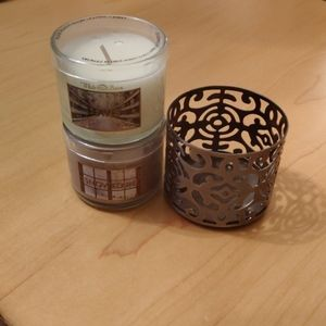Bath & Body Works Mini Candle Holder + 2 Candles